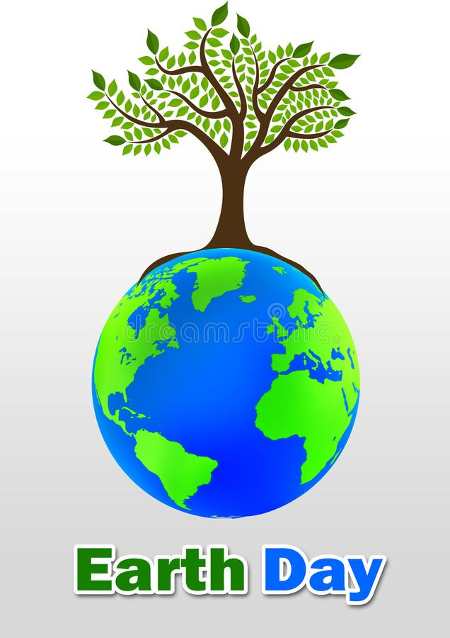 Earth Day with tree and globe stock images