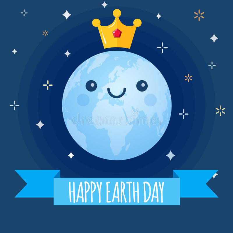 Earth Day vector background. Cartoon globe with golden crown and stars for April 22 celebration. Ecology theme vector illustration