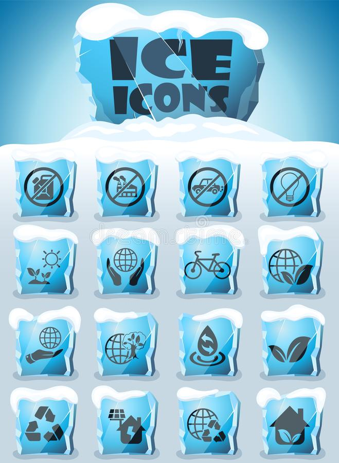 Earth day icon set. Earth day vector icons frozen in transparent blocks of ice royalty free illustration