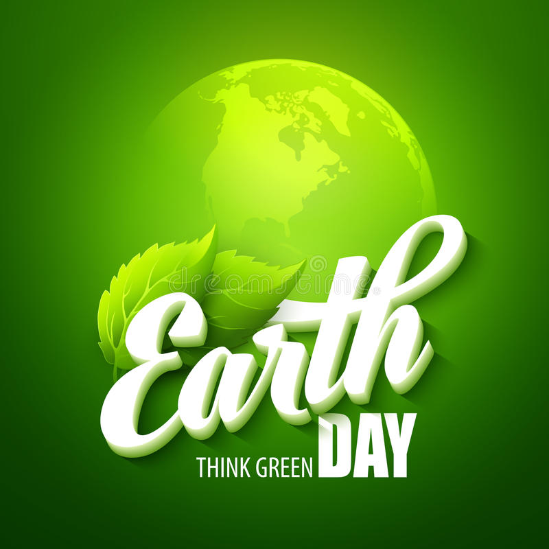 Earth Day. Vector illustration with the words. Planets and green leaves EPS 10 royalty free illustration