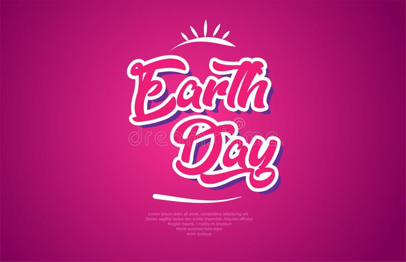 Earth day word text typography pink design icon. Earth day word typography design in pink color suitable for logo, banner or text design royalty free illustration