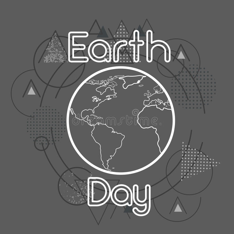 Earth Day World Globe Over Triangle Geometric Background royalty free illustration
