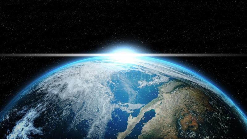 Earth in deep space with lighting sunlight. Group of stars on black background. Astronomy and science concept.. Blue Marble Global and Dark planet theme. world vector illustration