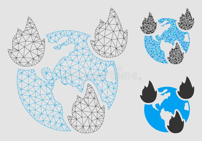 Earth Disasters Vector Mesh Carcass Model and Triangle Mosaic Icon stock illustration