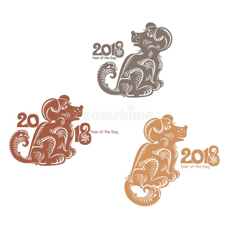 Earth Dog 2018 Three Variants Template Stock Illustration