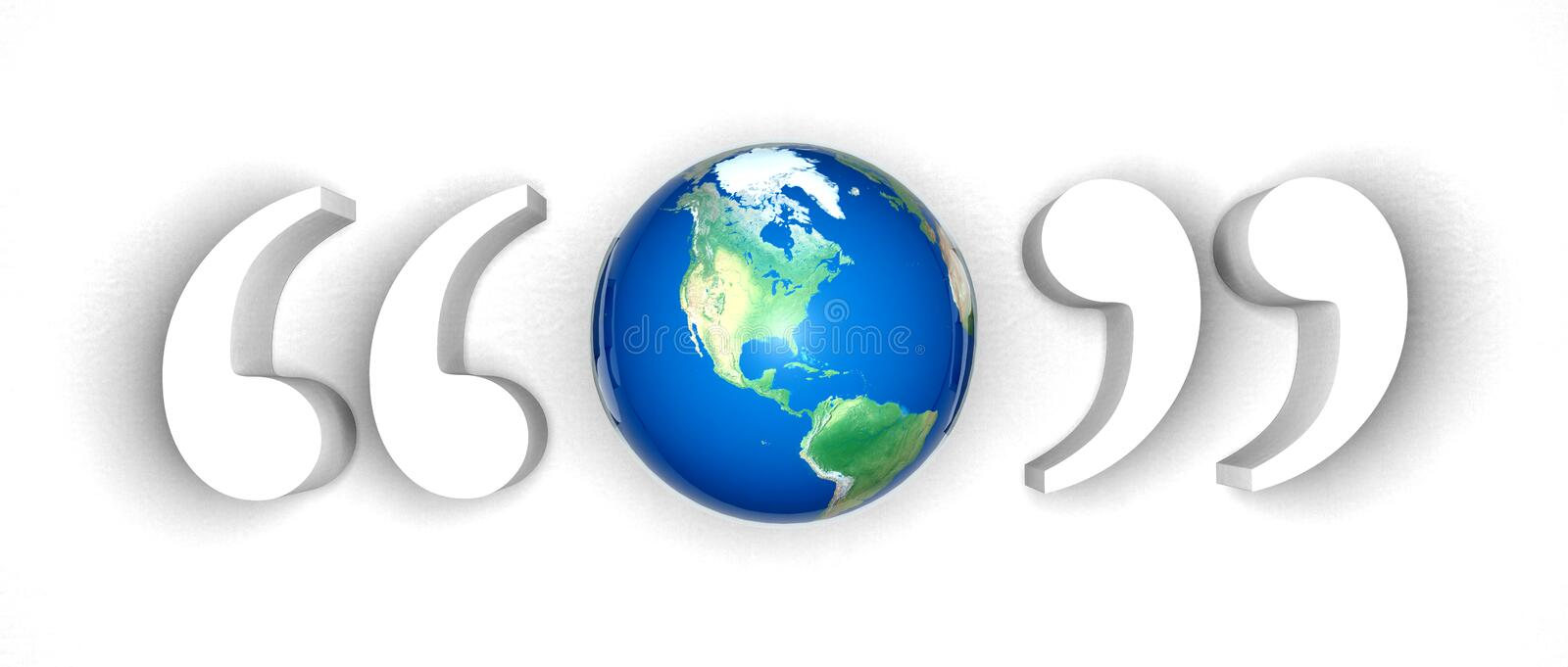 Earth in double quotes. Who speaks for earth concept the voice of humanity coming together to speak as one people peace stock illustration