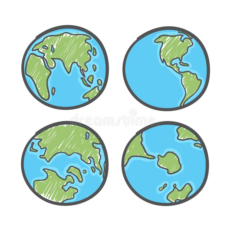 Earth drawing on white background. World map or globe in doodles style. Global drawing Earth day. Vector vector illustration