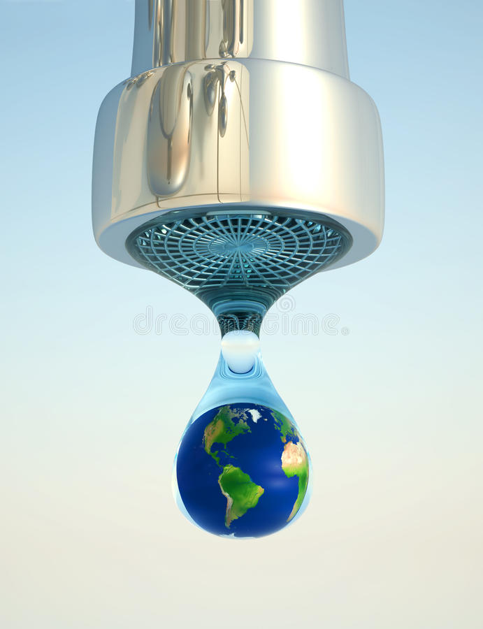 Earth in drop. Earth globe in last drop of environment resources - 3d render vector illustration