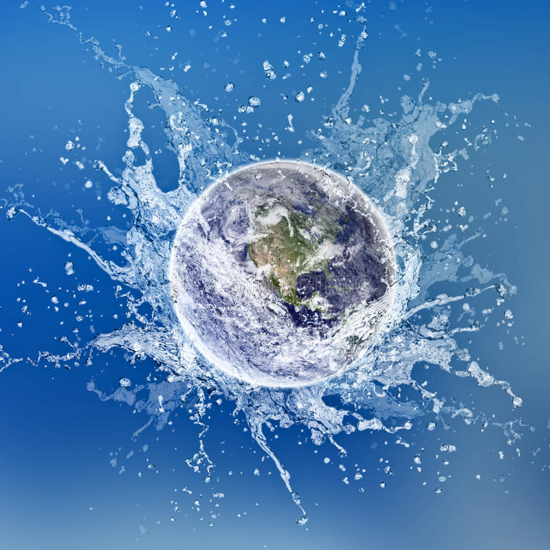 Earth dropped in water royalty free illustration