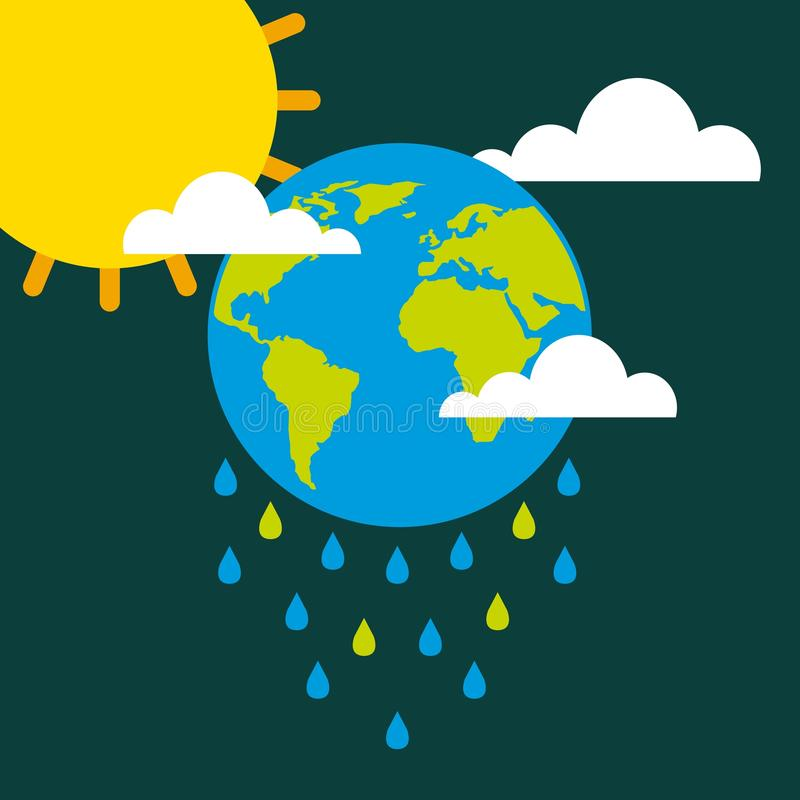Earth drops rain clouds sun climate change stock illustration