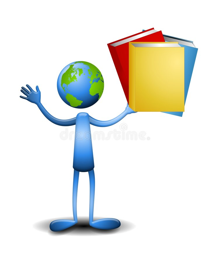 Earth Dude Holding Books vector illustration