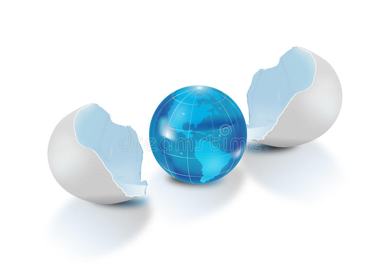 Blue globe out of an egg shell. Illustration of small blue Earth globe showing North and South America and the oceans, with a broken egg shell to left and right royalty free illustration