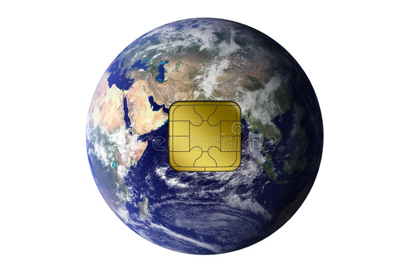 Download The Earth With Electronic Chip Stock Illustration - Image: 27734733