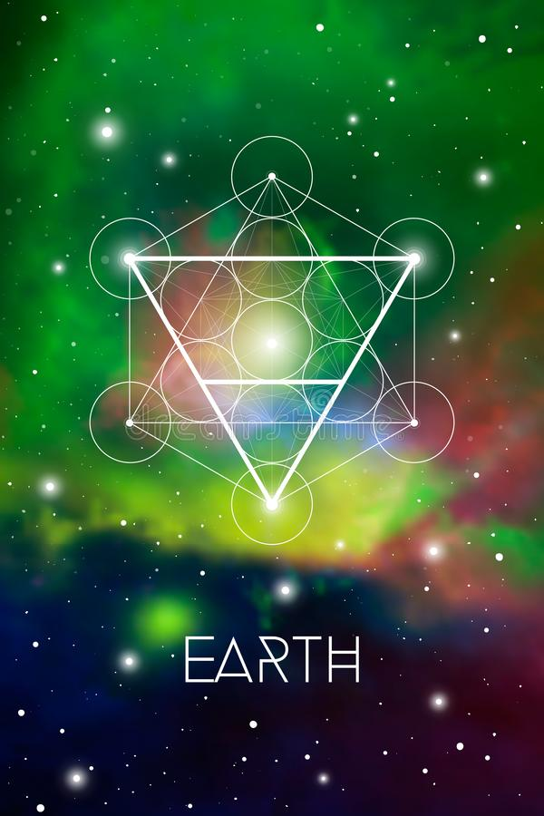 Earth element symbol inside Metatron Cube and Flower of Life in front of outer space cosmic background. Sacred geometry magic sign royalty free illustration