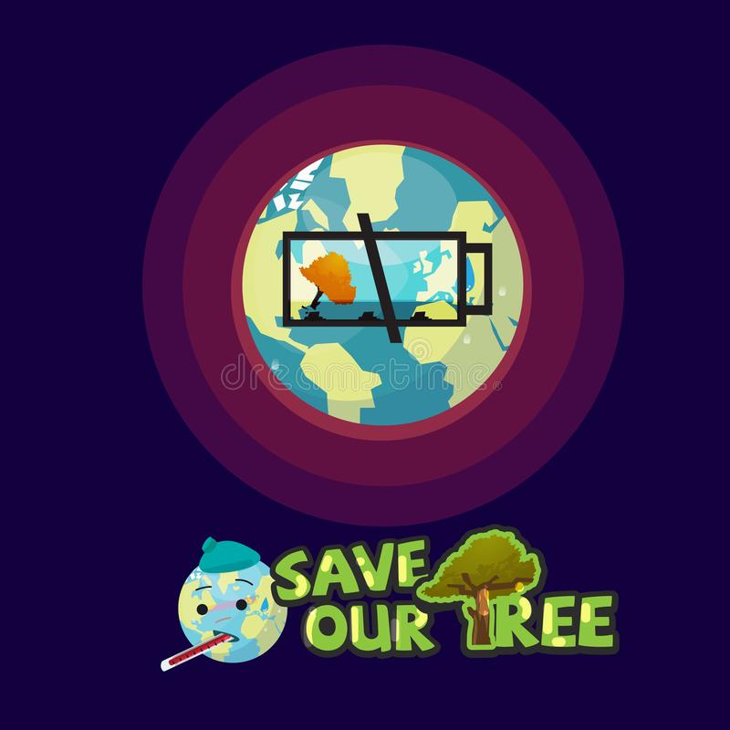 Earth with empty battery icon of last tree. save our tree concept vector illustration