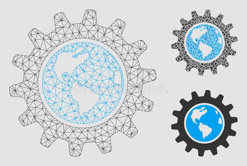 Earth Engineering Vector Mesh Network Model and Triangle Mosaic Icon stock illustration
