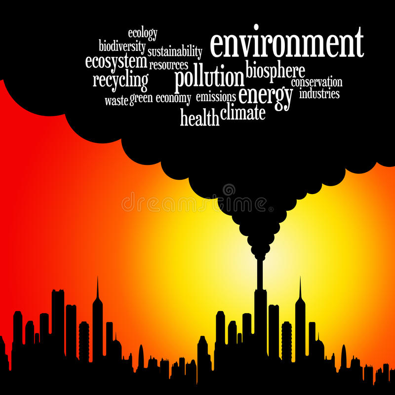 Earth environment. Caring about the environment of the earth (with relevant environmental issues vector illustration