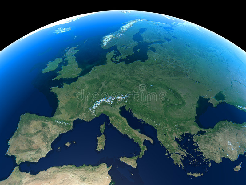 Earth - Europe. Europe as seen from space vector illustration