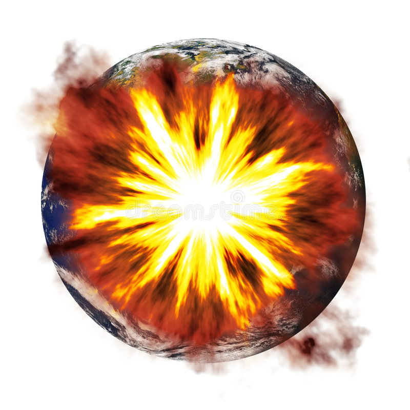 Earth Exploding. An illustration of the earth exploding from an asteroid or other nuclear weapon stock illustration
