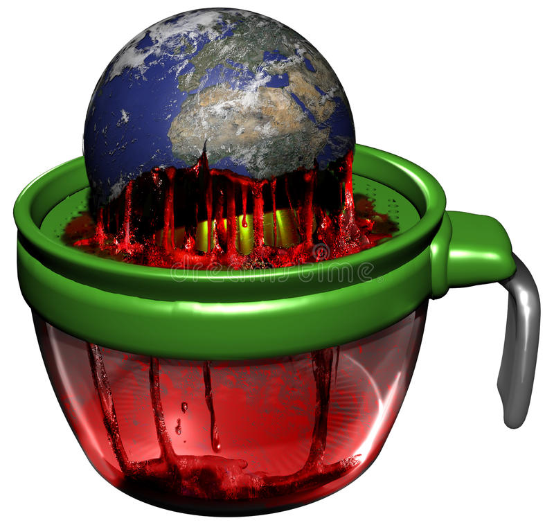 Earth exploitation. The Earth losing its vitality on a lemon squeezer. Abstract presentation of the Earth exploitation by the man