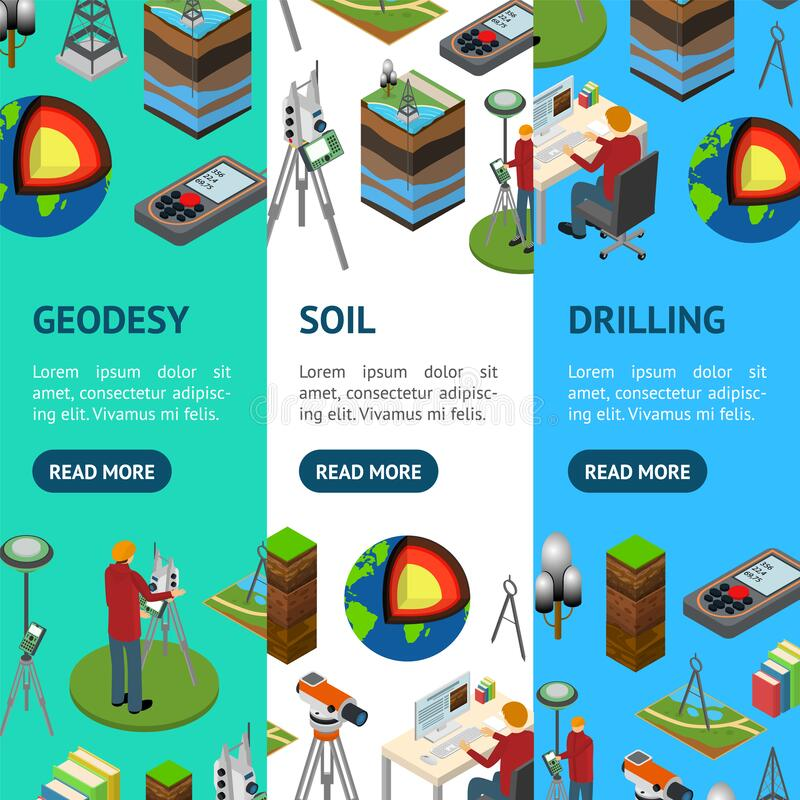Free Earth Exploration Concept Banner Vecrtical Set 3d Isometric View. Vector Stock Photos - 177337683