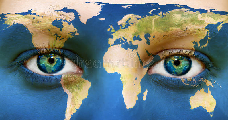Earth Eyes. Portrait of a woman with the map of the world painted on her face
