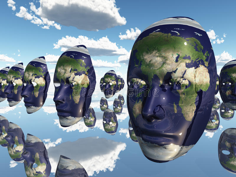 Earth faces stock illustration