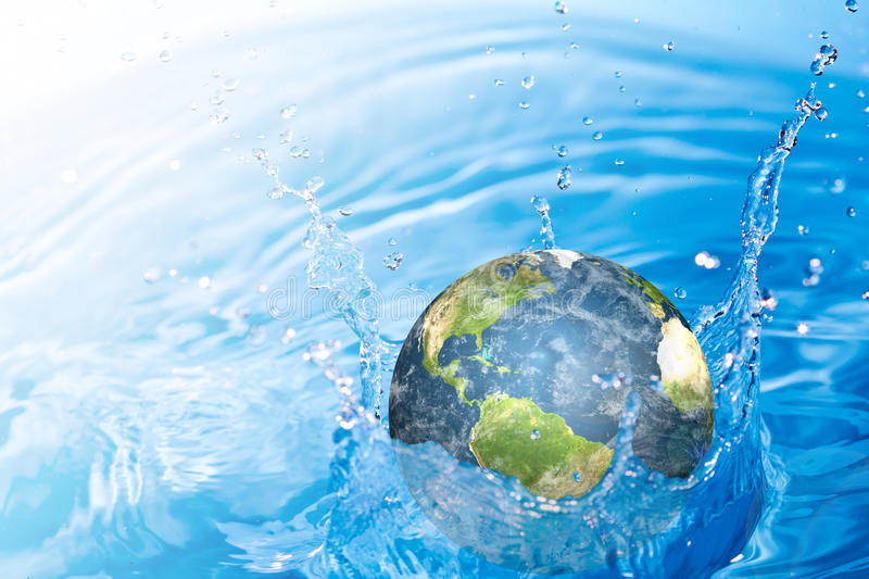 Earth falling into water. (Elements of this image furnished by NASA royalty free stock image