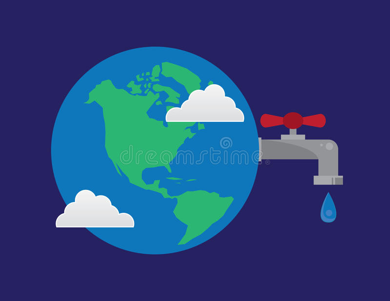 Earth Faucet Water Droplet. Earth with connected water faucet droplet stock illustration