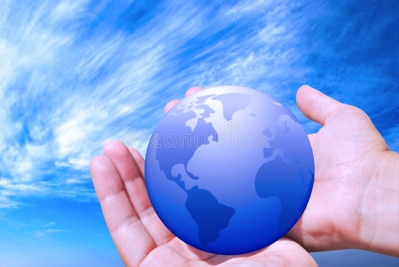 Earth in female hands royalty free stock images