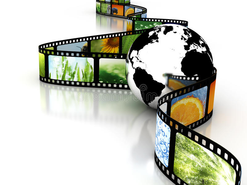 Download Earth with film stock illustration. Image of images, filmstrip - 12850003
