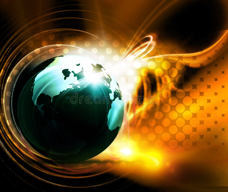 Earth in fire stock illustration