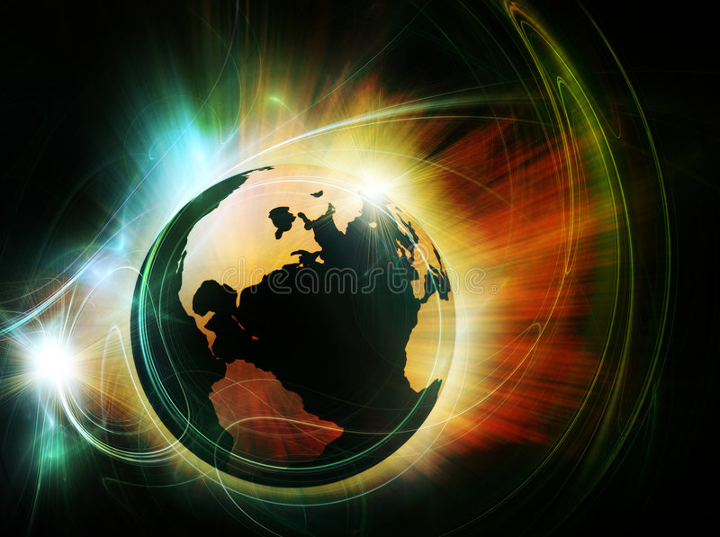 Earth in fire vector illustration