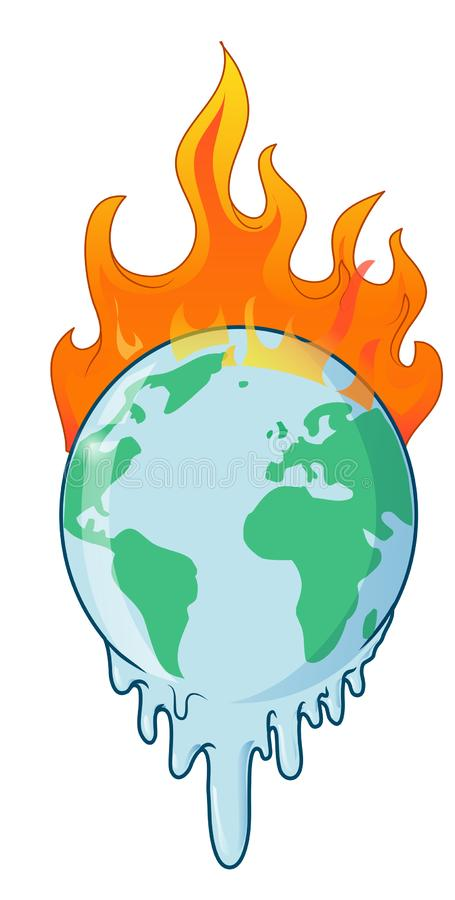 Earth on fire planet is burning disaster warning. Vector illustration vector illustration