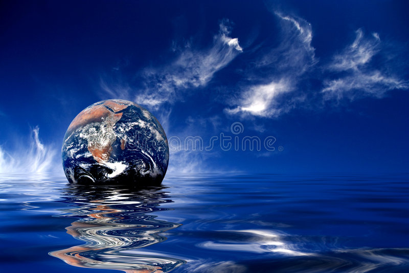 earth floating ocean vektor illustrationer