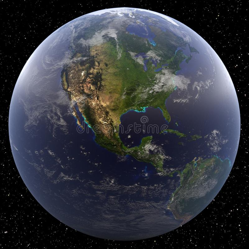 Earth focused on Central America viewed from space. vector illustration