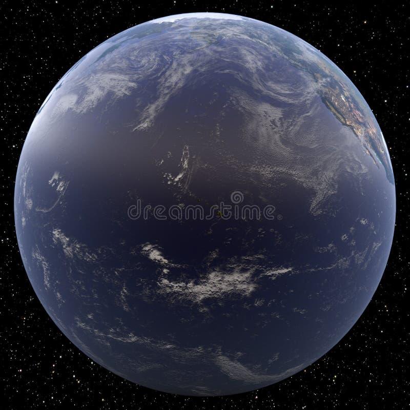 Earth focused on Hawai viewed from space. Islands viewed include Kauai, Oahu, Molokai, Lanai, Maui and Hawai royalty free illustration