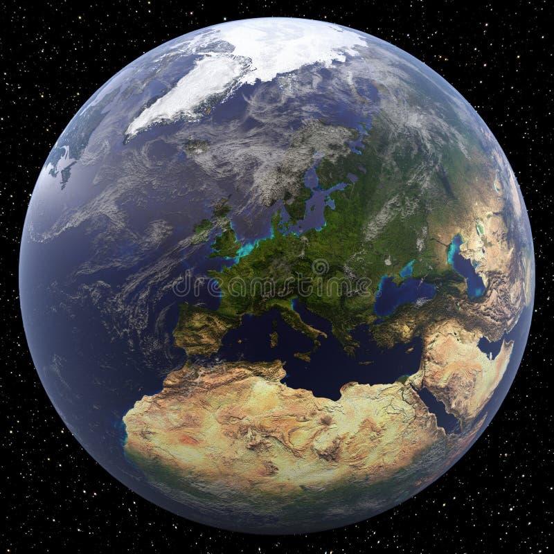 Earth focused on Northern Europe vector illustration