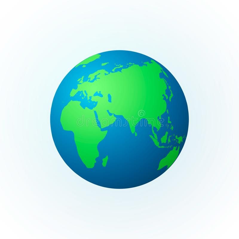 Earth in the form of a globe. Earth Planet icon. Colored world map. Vector illustration isolated on white background royalty free illustration