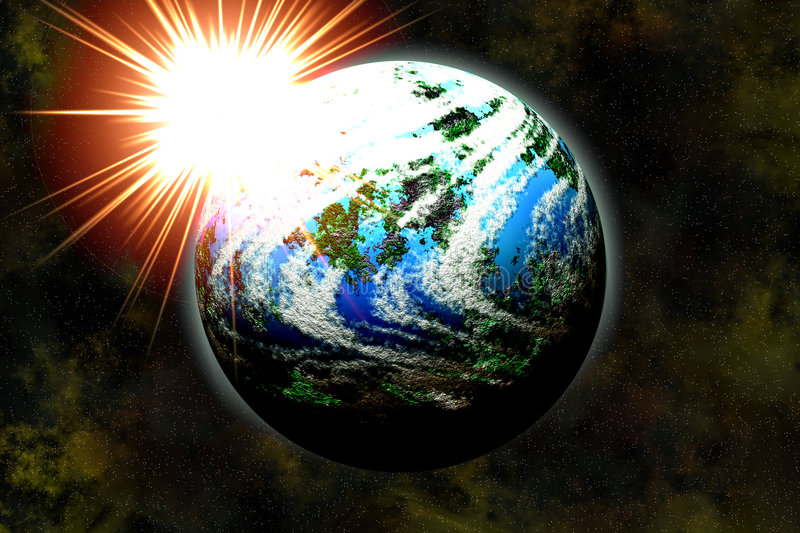 Earth-formed planet and star rise stock images
