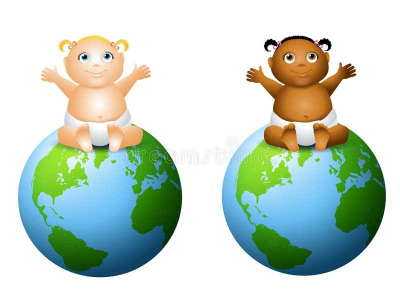 Earth Friendly Baby Clip Art. An illustration featuring your choice of happy smiling baby - african american and caucasian baby girl sitting on top of the Earth stock illustration