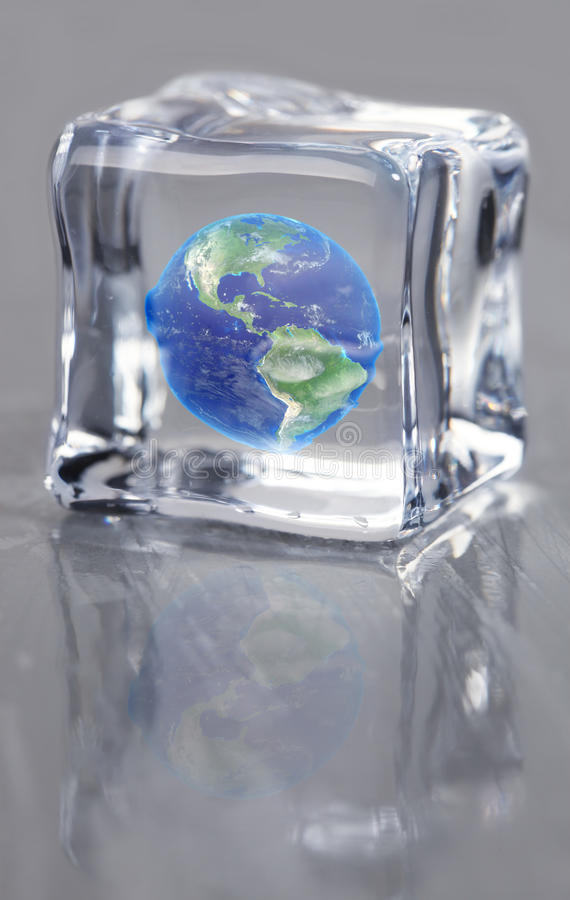 Earth frozen in ice. Planet earth frozen in ice royalty free stock images