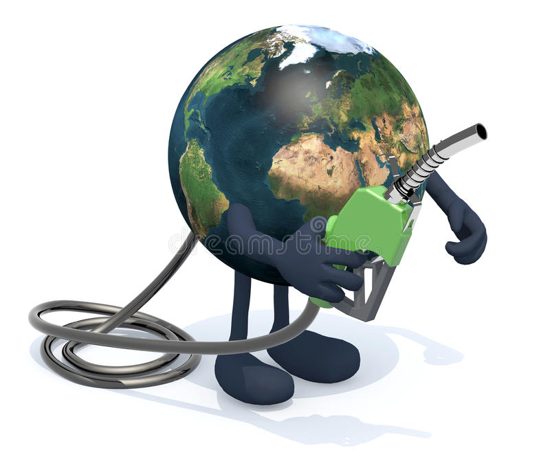 Earth with fuel pump, 3d illustration. Planet earth with arms, legs and fuel pump on hand, 3d illustration royalty free illustration