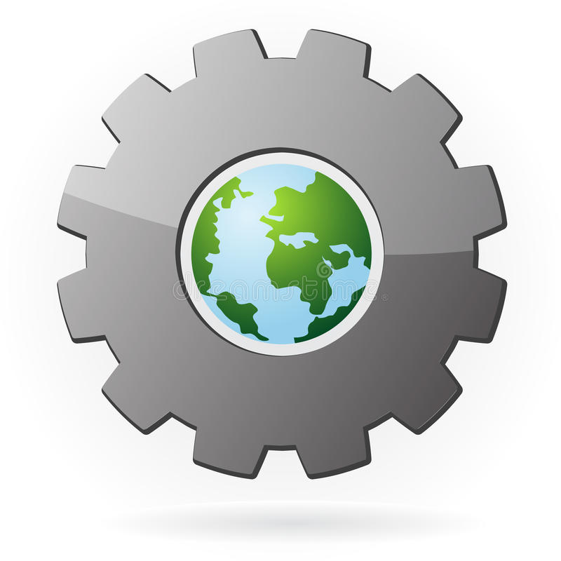 The earth and gear symbol. Illustration of a machine gear with the earth globe centered in the hole, symbol for development, industry, manufacturing and research stock illustration