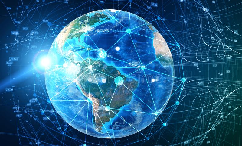 Earth and global digital network concept. Hologram of planet Earth with double exposure of global digital network interface. Concept of hi tech and vector illustration