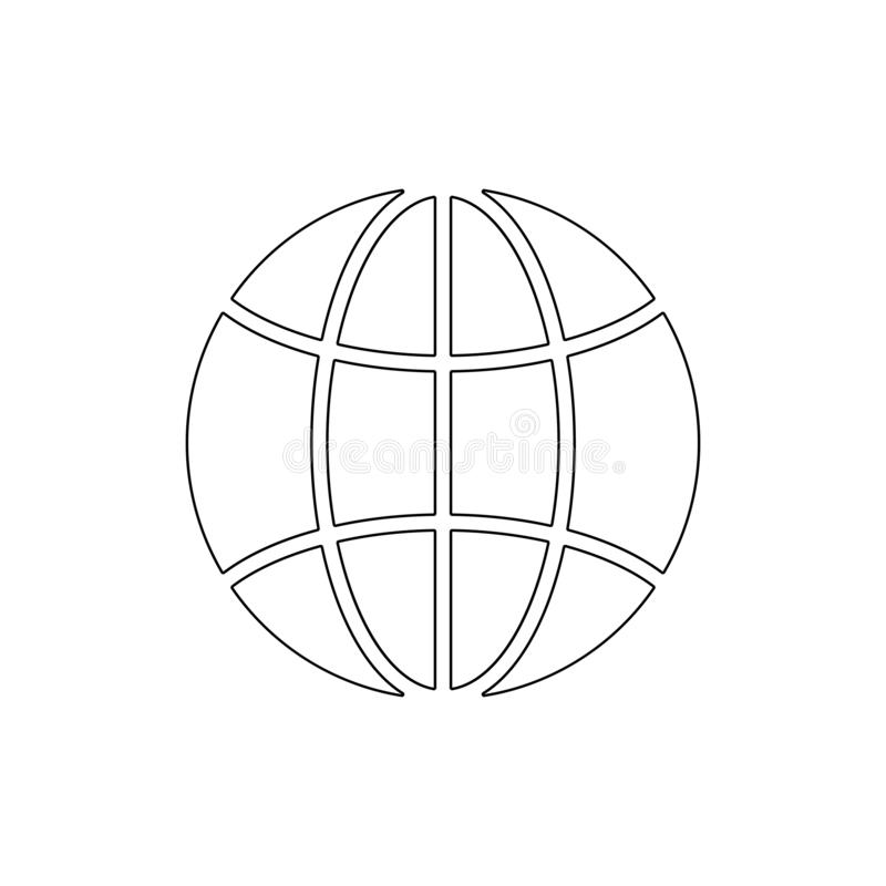 Earth global globe international planet world internet outline icon. Signs and symbols can be used for web, logo, mobile app, UI, royalty free illustration