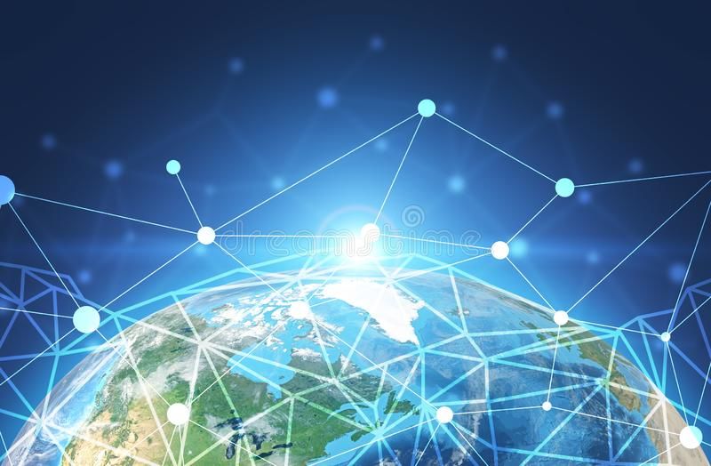Earth and global network interface royalty free illustration