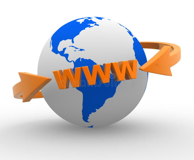 Earth globe. And arrows. Internet World Wide Web Concept ( www). 3d render royalty free illustration