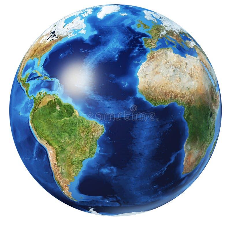 Free Earth Globe 3d Illustration. Atlantic Ocean View Stock Images - 169276454