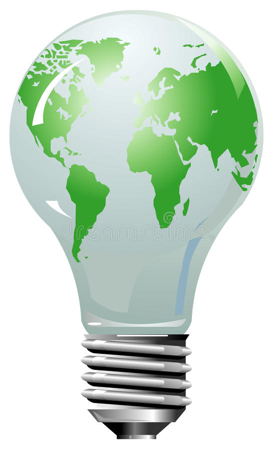 Download Earth Globe As Lightning Bulb Stock Vector - Image: 12868529